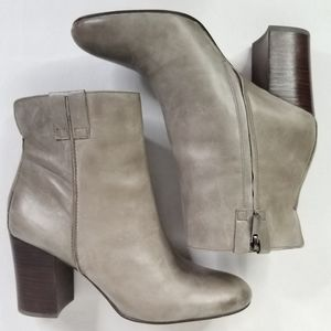 Sam Edelman Leather Ankle Zip Booties 9.5 Gray